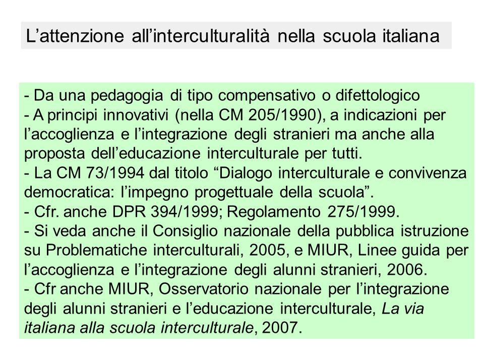Lattenzione allinterculturalità nella scuola italiana - Da una pedagogia di tipo compensativo o difettologico - A principi innovativi (nella CM 205/19