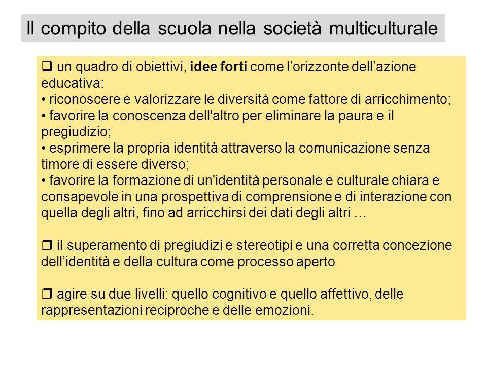 un quadro di obiettivi, idee forti come lorizzonte dellazione educativa: riconoscere e valorizzare le diversità come fattore di arricchimento; favorir