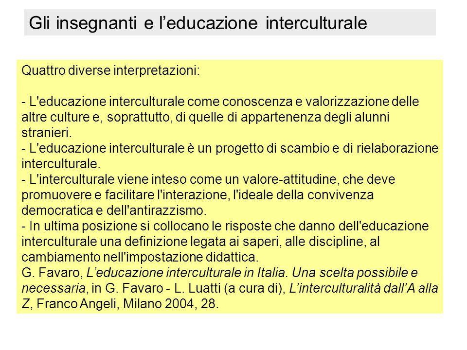 Quattro diverse interpretazioni: - L'educazione interculturale come conoscenza e valorizzazione delle altre culture e, soprattutto, di quelle di appar