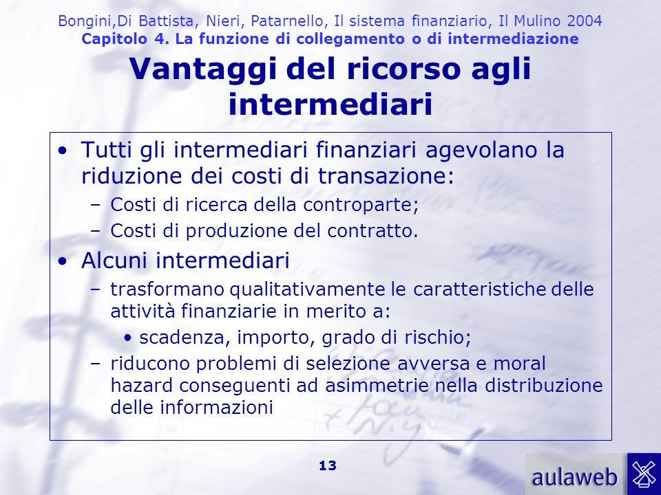 Bongini,Di Battista, Nieri, Patarnello, Il sistema finanziario, Il Mulino 2004 Capitolo 4. La funzione di collegamento o di intermediazione 13 Vantagg
