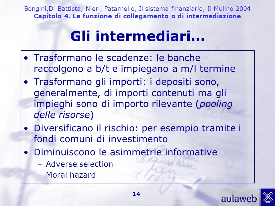 Bongini,Di Battista, Nieri, Patarnello, Il sistema finanziario, Il Mulino 2004 Capitolo 4. La funzione di collegamento o di intermediazione Gli interm