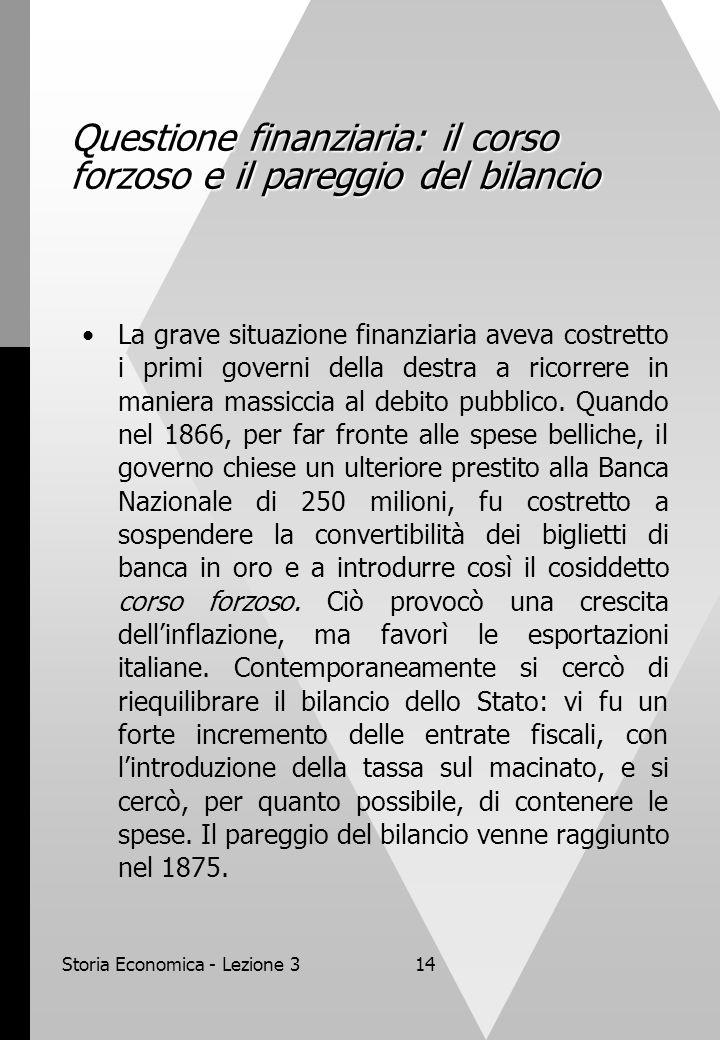 Storia Economica - Lezione 314 Questione finanziaria: il corso forzoso e il pareggio del bilancio La grave situazione finanziaria aveva costretto i primi governi della destra a ricorrere in maniera massiccia al debito pubblico.