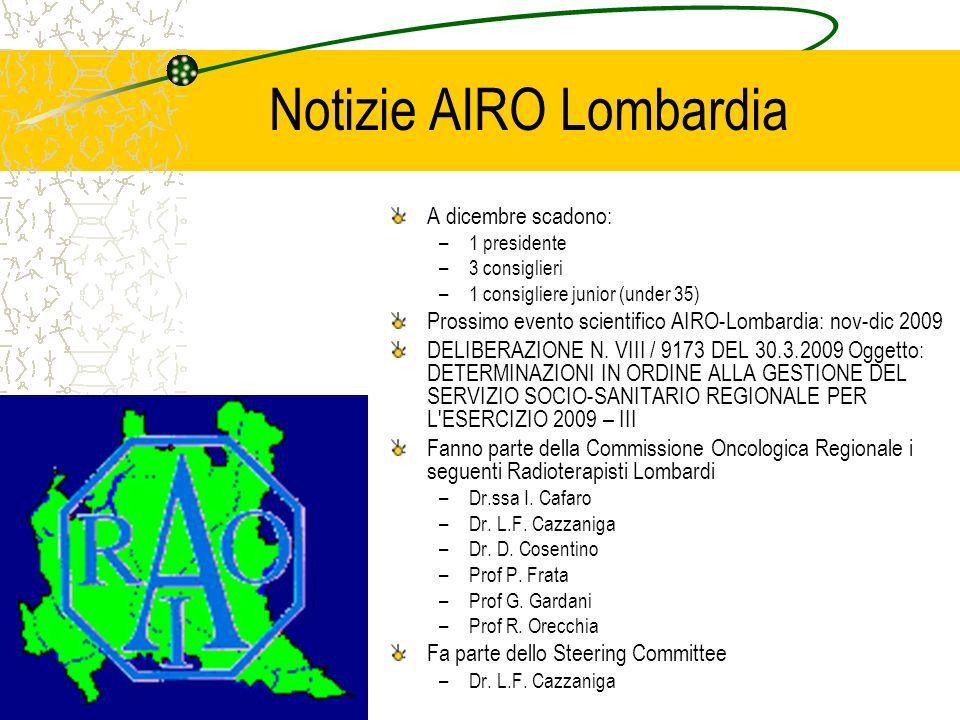 Notizie AIRO Lombardia A dicembre scadono: –1 presidente –3 consiglieri –1 consigliere junior (under 35) Prossimo evento scientifico AIRO-Lombardia: n