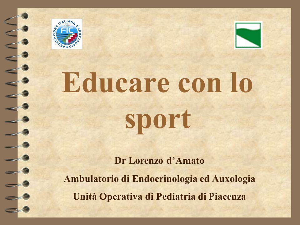 Educare con lo sport Dr Lorenzo dAmato Ambulatorio di Endocrinologia ed Auxologia Unità Operativa di Pediatria di Piacenza
