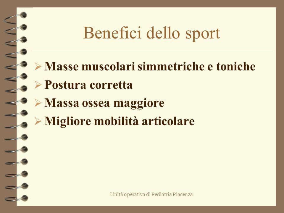 Unità operativa di Pediatria Piacenza Benefici dello sport Masse muscolari simmetriche e toniche Postura corretta Massa ossea maggiore Migliore mobili