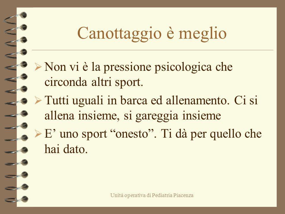 Unità operativa di Pediatria Piacenza Canottaggio è meglio Non vi è la pressione psicologica che circonda altri sport. Tutti uguali in barca ed allena