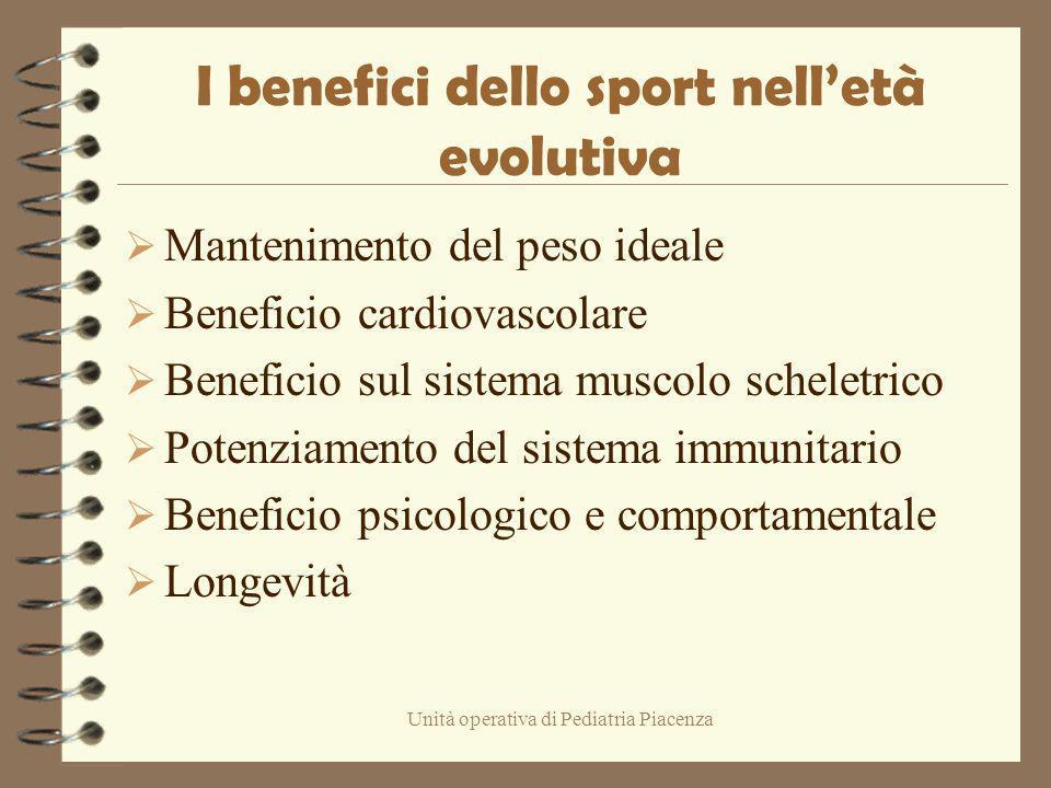 Unità operativa di Pediatria Piacenza I benefici dello sport nelletà evolutiva Mantenimento del peso ideale Beneficio cardiovascolare Beneficio sul si