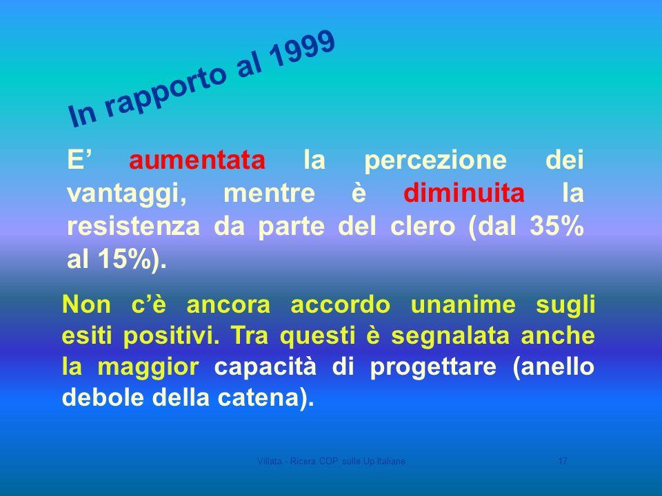 Villata - Ricera COP sulle Up Italiane17 Non cè ancora accordo unanime sugli esiti positivi.