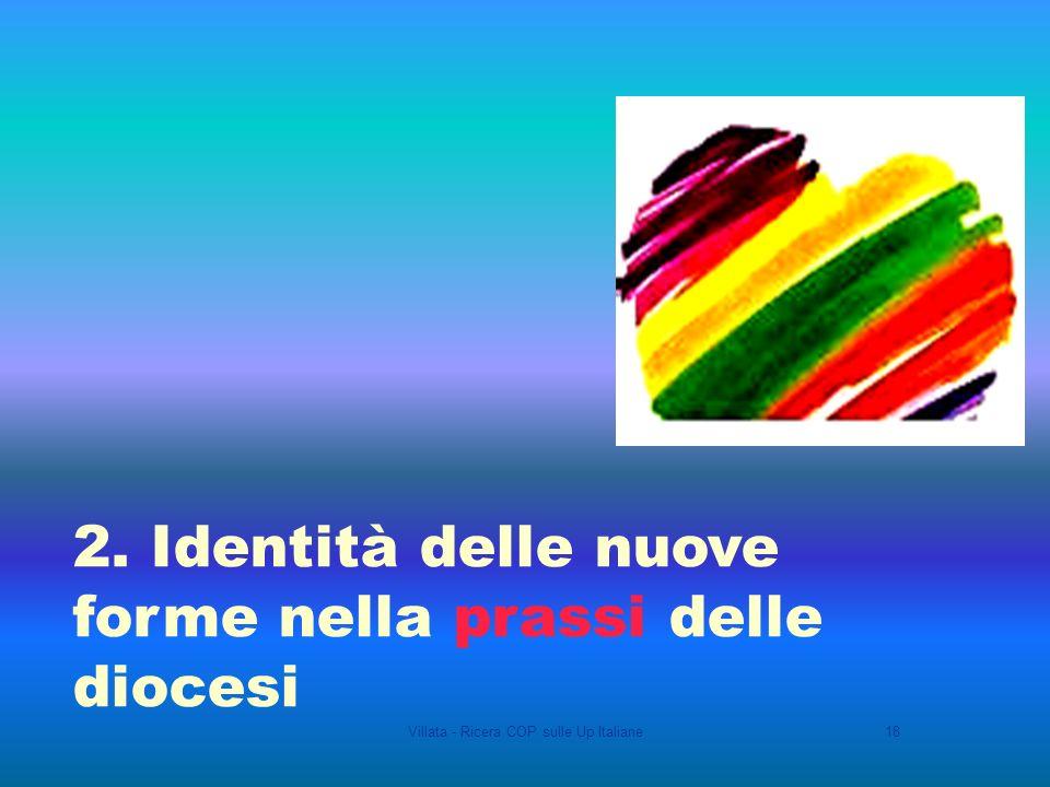 Villata - Ricera COP sulle Up Italiane18 2. Identità delle nuove forme nella prassi delle diocesi
