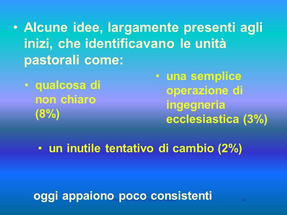 Villata - Ricera COP sulle Up Italiane20 un inutile tentativo di cambio (2%) qualcosa di non chiaro (8%) una semplice operazione di ingegneria ecclesiastica (3%) Alcune idee, largamente presenti agli inizi, che identificavano le unità pastorali come: oggi appaiono poco consistenti