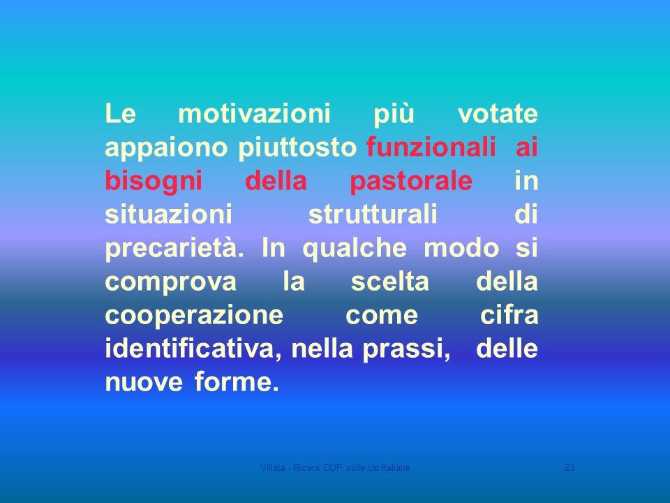 Villata - Ricera COP sulle Up Italiane23 Le motivazioni più votate appaiono piuttosto funzionali ai bisogni della pastorale in situazioni strutturali di precarietà.