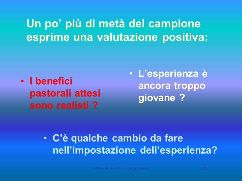 Villata - Ricera COP sulle Up Italiane26 Un po più di metà del campione esprime una valutazione positiva: Lesperienza è ancora troppo giovane .