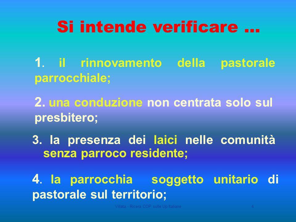 Villata - Ricera COP sulle Up Italiane4 1. il rinnovamento della pastorale parrocchiale; 2.