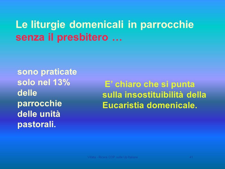 Villata - Ricera COP sulle Up Italiane41 Le liturgie domenicali in parrocchie senza il presbitero … sono praticate solo nel 13% delle parrocchie delle unità pastorali.