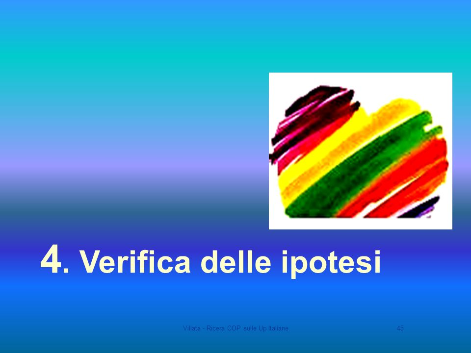 Villata - Ricera COP sulle Up Italiane45 4. Verifica delle ipotesi
