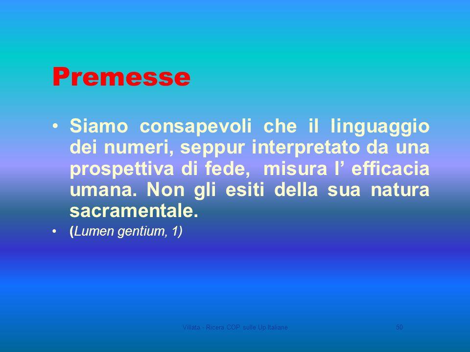 Villata - Ricera COP sulle Up Italiane50 Premesse Siamo consapevoli che il linguaggio dei numeri, seppur interpretato da una prospettiva di fede, misura l efficacia umana.