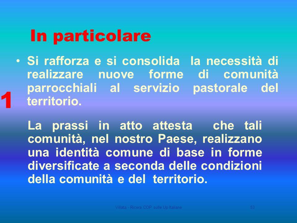 Villata - Ricera COP sulle Up Italiane53 Si rafforza e si consolida la necessità di realizzare nuove forme di comunità parrocchiali al servizio pastorale del territorio.
