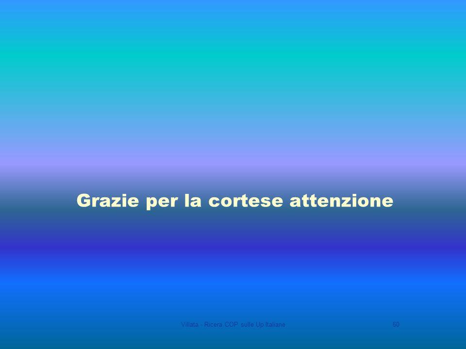 Villata - Ricera COP sulle Up Italiane60 Grazie per la cortese attenzione