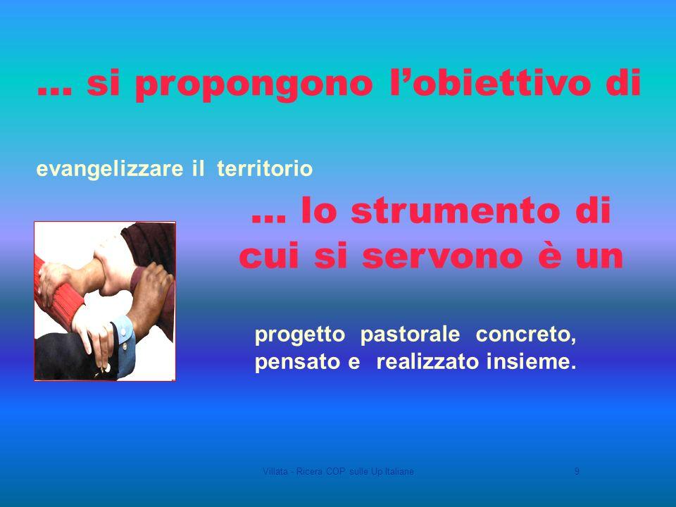 Villata - Ricera COP sulle Up Italiane9 evangelizzare il territorio progetto pastorale concreto, pensato e realizzato insieme.
