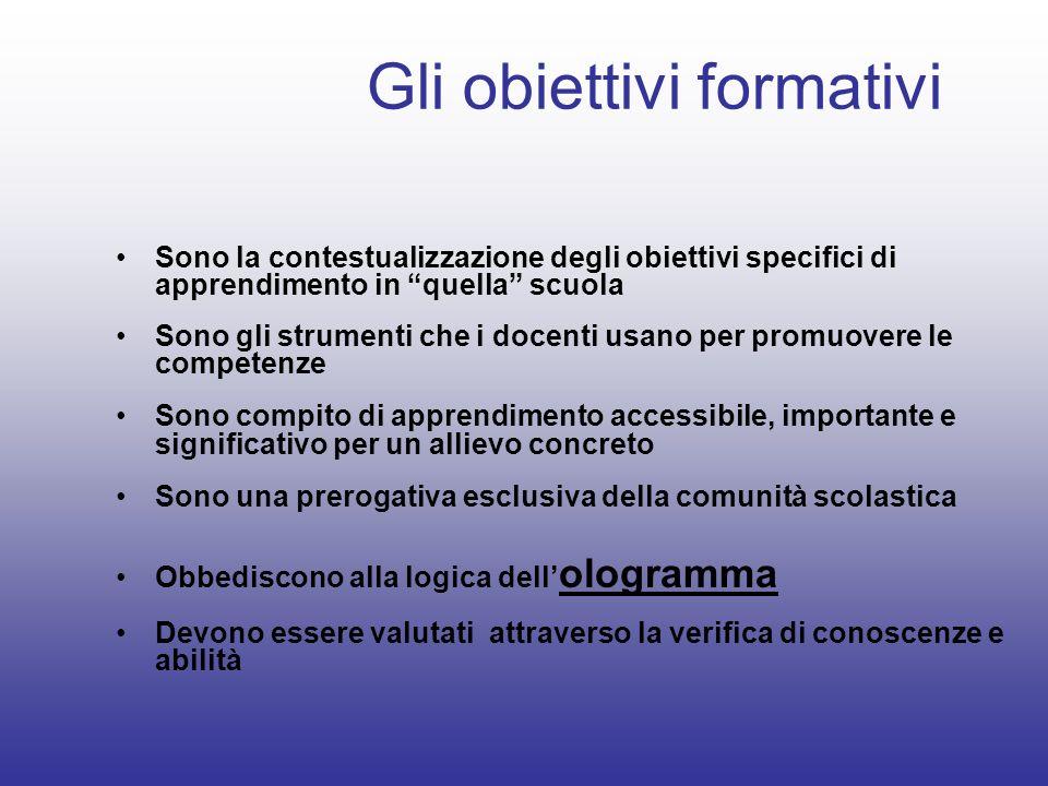 Gli obiettivi formativi Sono la contestualizzazione degli obiettivi specifici di apprendimento in quella scuola Sono gli strumenti che i docenti usano
