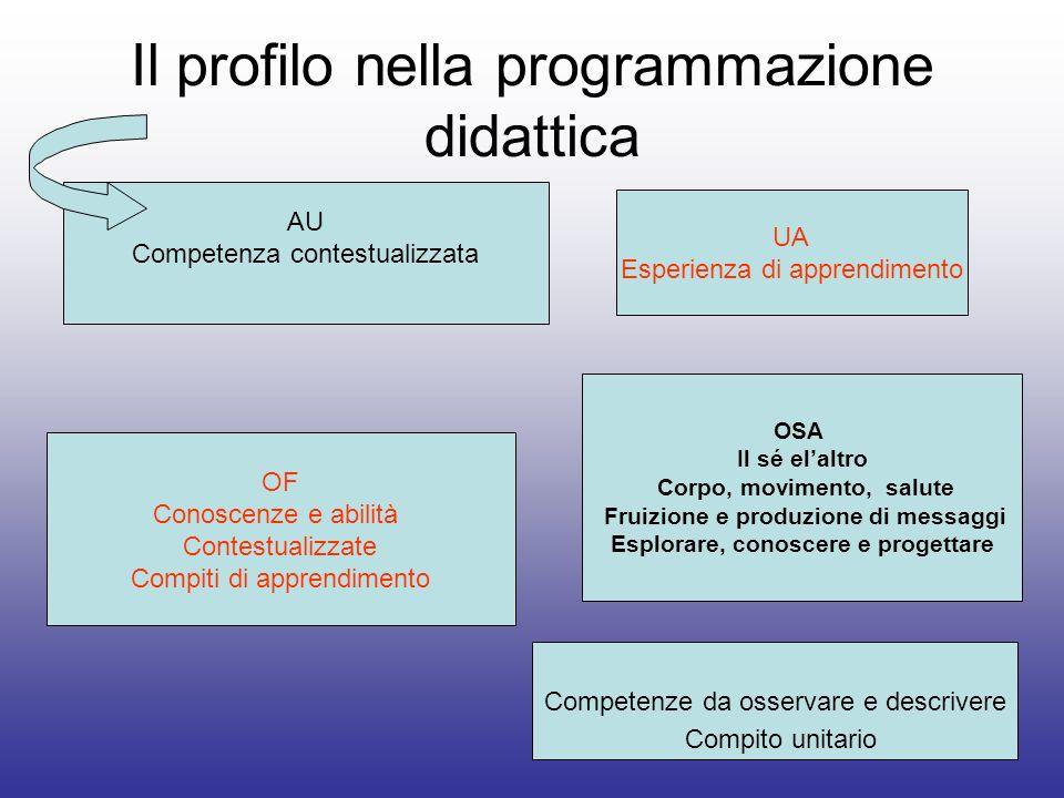 Il profilo nella programmazione didattica AU Competenza contestualizzata OF Conoscenze e abilità Contestualizzate Compiti di apprendimento Competenze