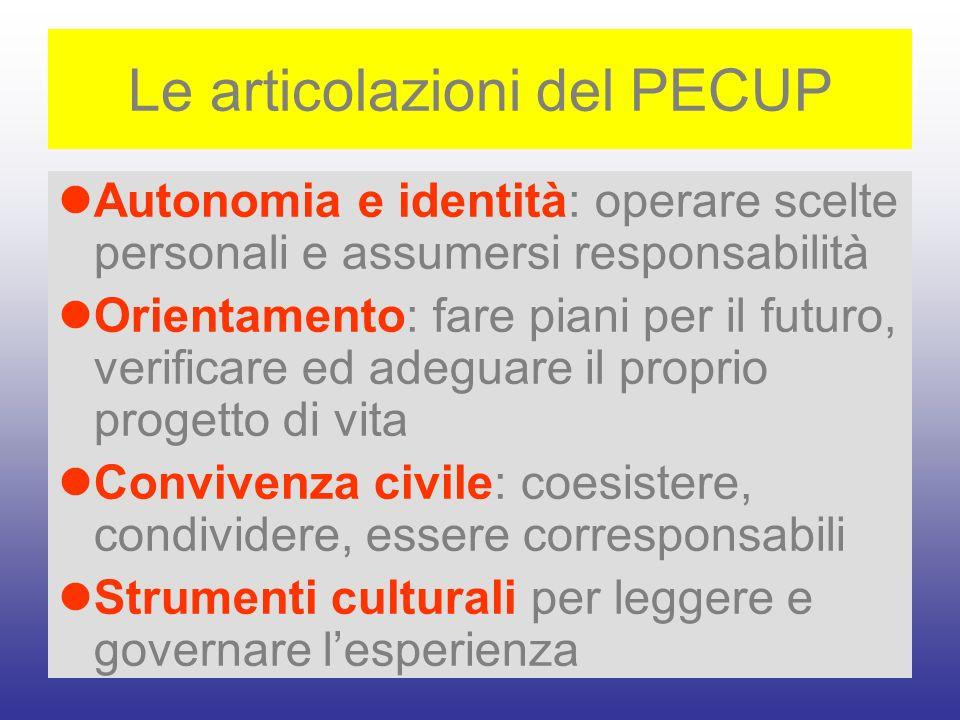 Le articolazioni del PECUP Autonomia e identità: operare scelte personali e assumersi responsabilità Orientamento: fare piani per il futuro, verificar