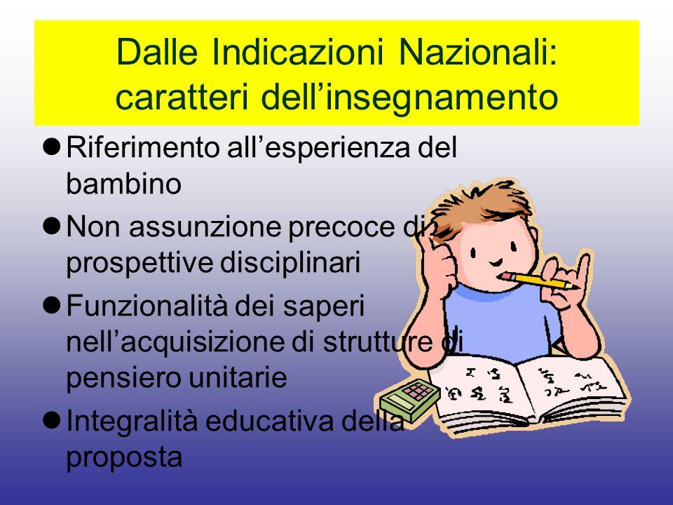 Dalle Indicazioni Nazionali: caratteri dellinsegnamento Riferimento allesperienza del bambino Non assunzione precoce di prospettive disciplinari Funzi