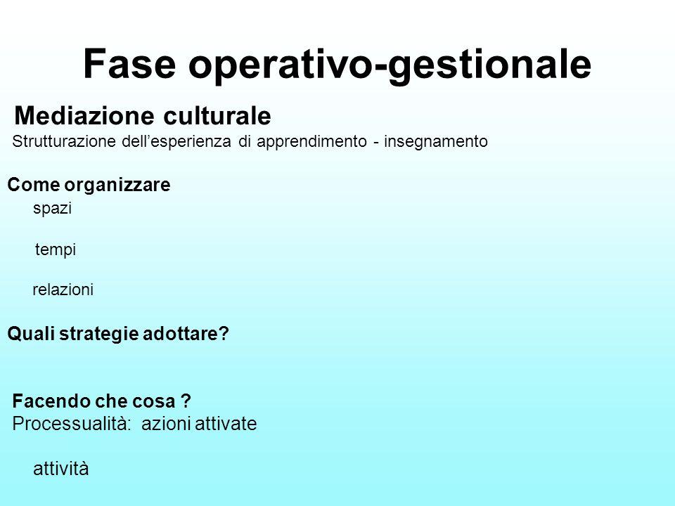Fase operativo-gestionale Mediazione culturale Strutturazione dellesperienza di apprendimento - insegnamento Come organizzare spazi tempi relazioni Qu