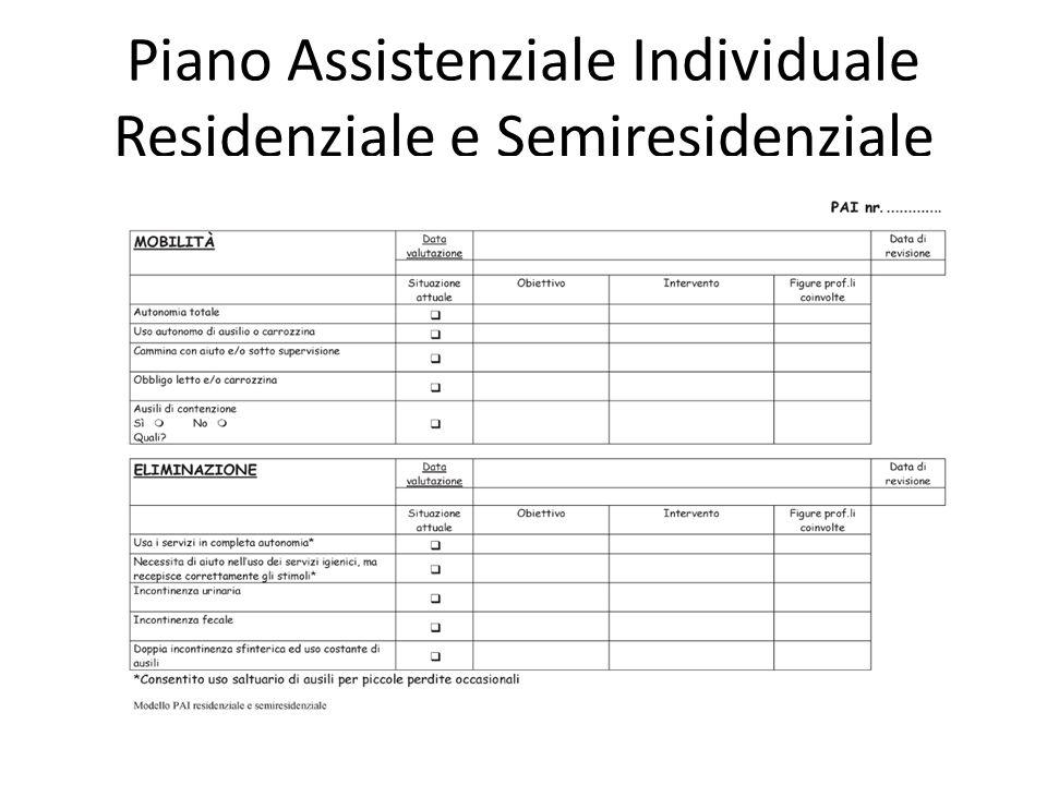 Piano Assistenziale Individuale Residenziale e Semiresidenziale