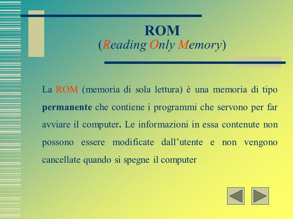RAM ( Random Access Memory) La RAM (memoria ad accesso casuale) è quella parte di memoria alla quale può accedere lutente. Le informazioni in essa con