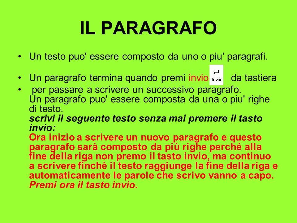 IL PARAGRAFO Un testo puo' essere composto da uno o piu' paragrafi. Un paragrafo termina quando premi invio da tastiera per passare a scrivere un succ