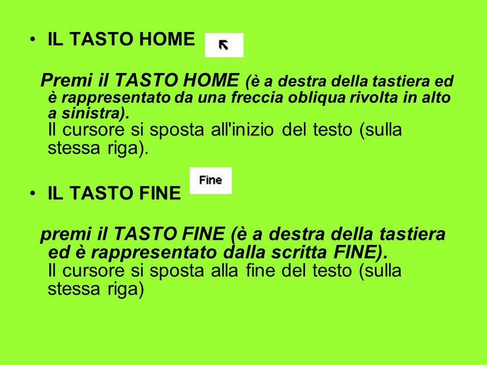 IL TASTO HOME Premi il TASTO HOME (è a destra della tastiera ed è rappresentato da una freccia obliqua rivolta in alto a sinistra). Il cursore si spos