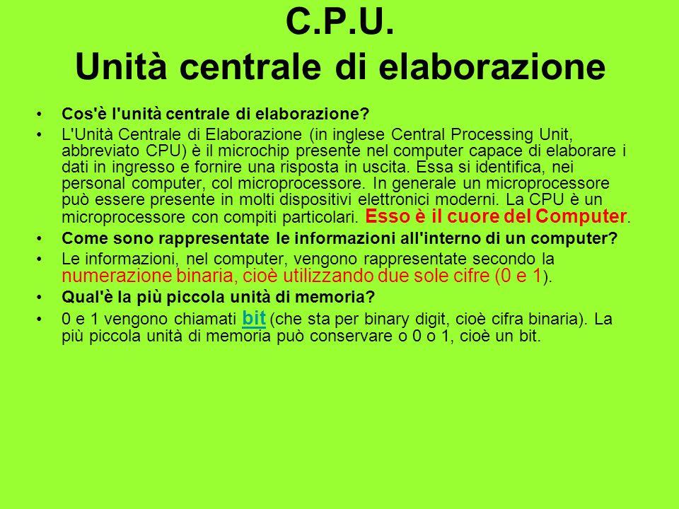C.P.U. Unità centrale di elaborazione Cos'è l'unità centrale di elaborazione? L'Unità Centrale di Elaborazione (in inglese Central Processing Unit, ab
