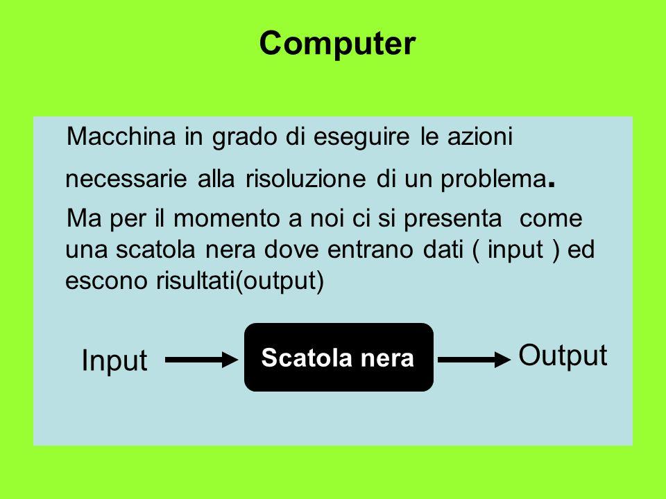 Computer Macchina in grado di eseguire le azioni necessarie alla risoluzione di un problema. Ma per il momento a noi ci si presenta come una scatola n