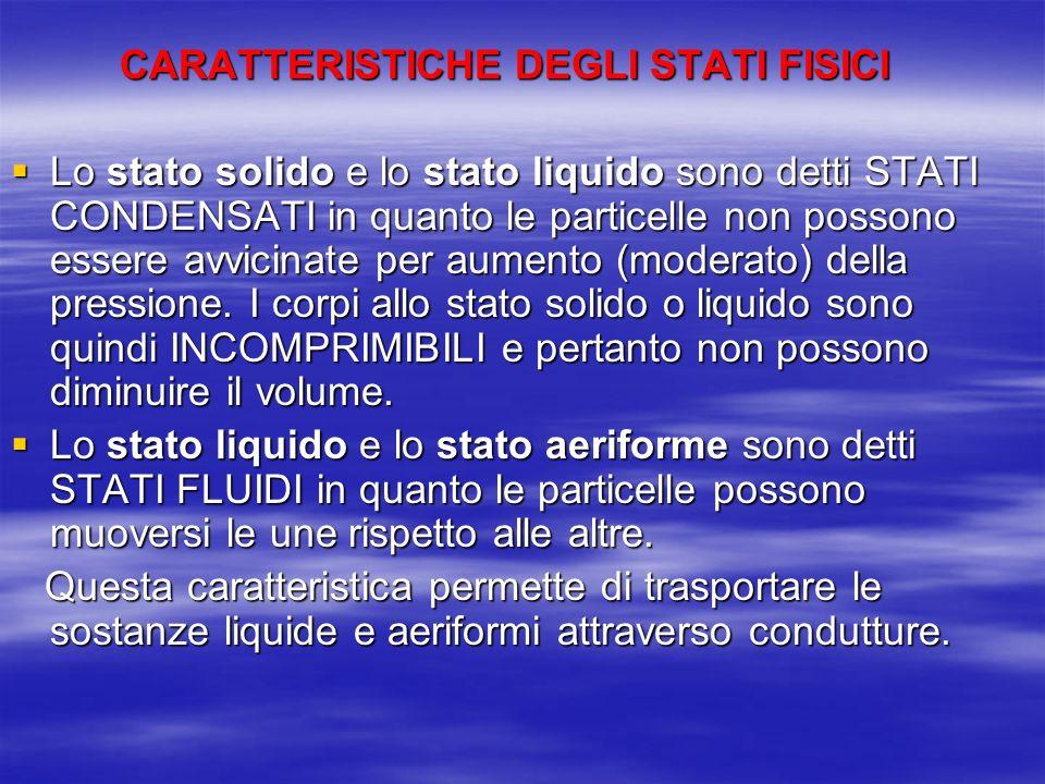 CARATTERISTICHE DEGLI STATI FISICI Lo stato solido e lo stato liquido sono detti STATI CONDENSATI in quanto le particelle non possono essere avvicinat