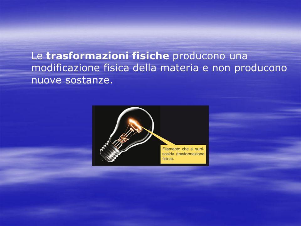 Le trasformazioni fisiche producono una modificazione fisica della materia e non producono nuove sostanze.