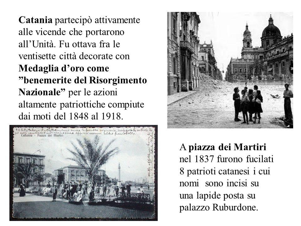Il 18 agosto 1862 Garibaldi tornò a Catania per incitare alla presa di Roma e parlò dal balcone del Circolo degli Operai, allora ubicato ai Quattro Ca