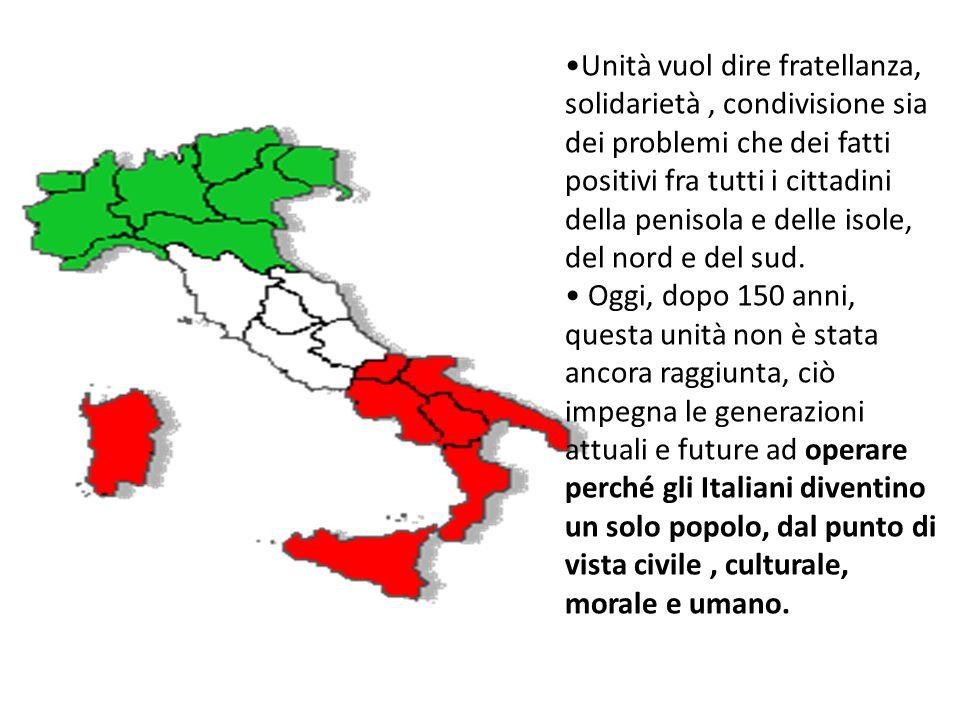 Alla prima seduta del Parlamento Italiano Cavour ( ma alcuni le attribuiscono a M. DAzeglio)aveva detto:LItalia è fatta, bisogna fare gli Italiani. Pa