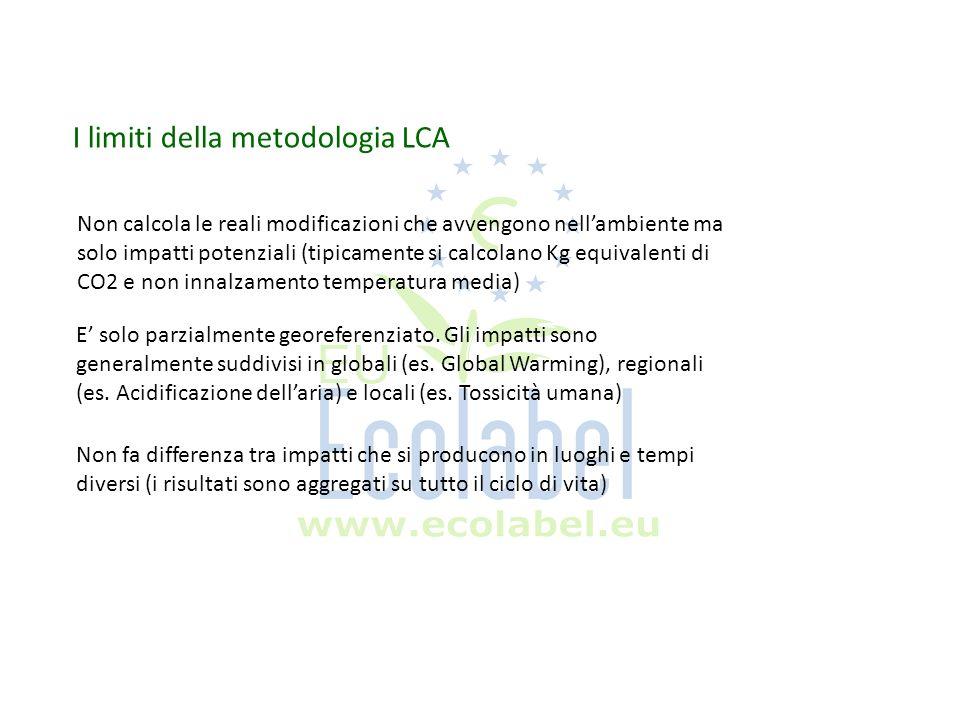 I limiti della metodologia LCA Non calcola le reali modificazioni che avvengono nellambiente ma solo impatti potenziali (tipicamente si calcolano Kg e