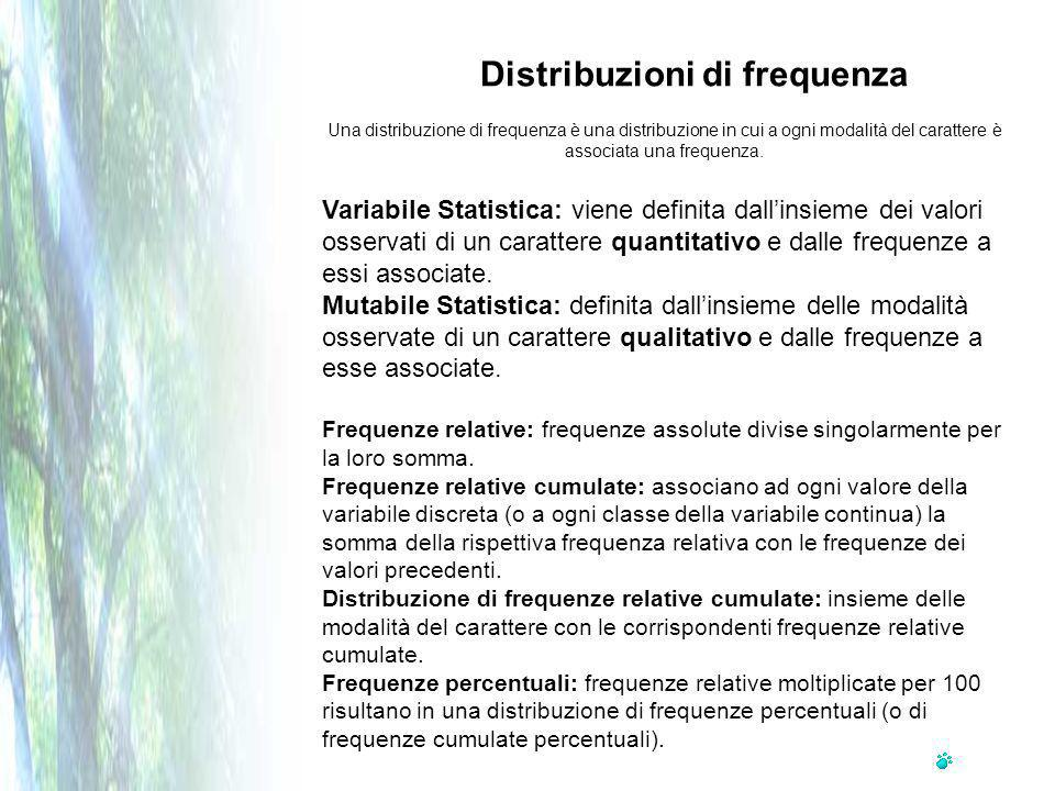 Una distribuzione di frequenza è una distribuzione in cui a ogni modalità del carattere è associata una frequenza.