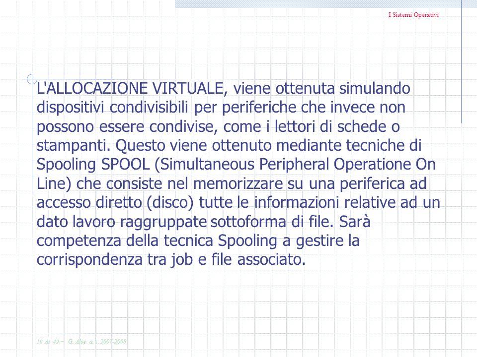I Sistemi Operativi 10 di 49 - G. Aloe a. s. 2007-2008 L'ALLOCAZIONE VIRTUALE, viene ottenuta simulando dispositivi condivisibili per periferiche che