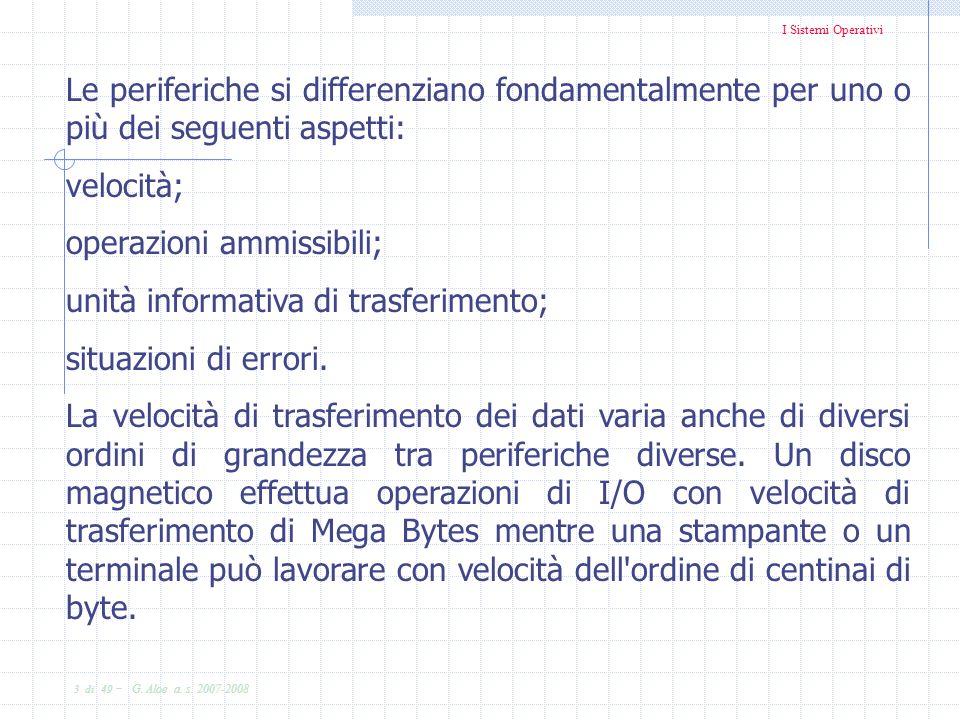 I Sistemi Operativi 3 di 49 - G. Aloe a. s. 2007-2008 Le periferiche si differenziano fondamentalmente per uno o più dei seguenti aspetti: velocità; o