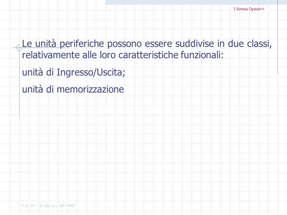 I Sistemi Operativi 5 di 49 - G. Aloe a. s. 2007-2008 Le unità periferiche possono essere suddivise in due classi, relativamente alle loro caratterist
