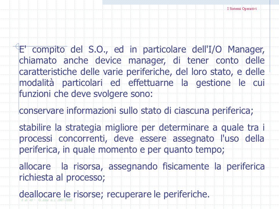 I Sistemi Operativi 6 di 49 - G. Aloe a. s. 2007-2008 E' compito del S.O., ed in particolare dell'I/O Manager, chiamato anche device manager, di tener