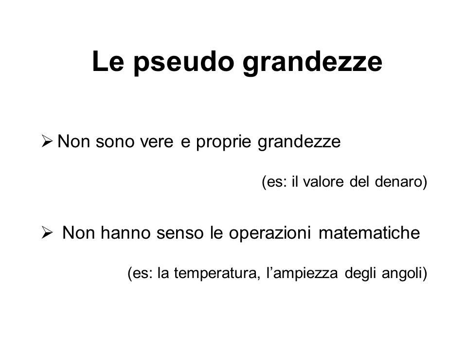 Le pseudo grandezze Non sono vere e proprie grandezze (es: il valore del denaro) Non hanno senso le operazioni matematiche (es: la temperatura, lampie