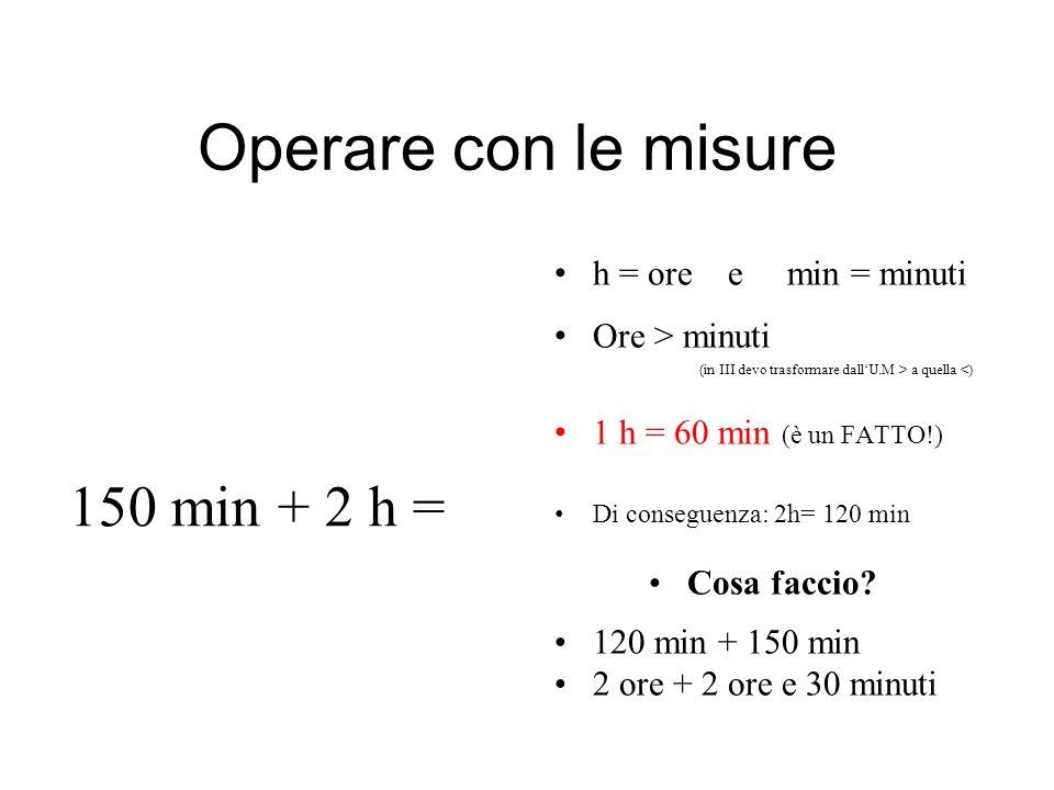 Operare con le misure h = ore e min = minuti Ore > minuti (in III devo trasformare dallU.M > a quella <) 1 h = 60 min (è un FATTO!) Di conseguenza: 2h