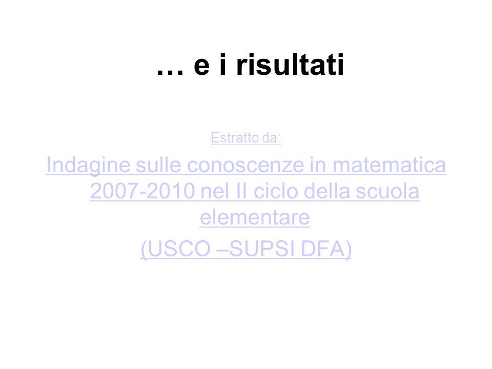 … e i risultati Estratto da: Indagine sulle conoscenze in matematica 2007-2010 nel II ciclo della scuola elementare (USCO –SUPSI DFA)