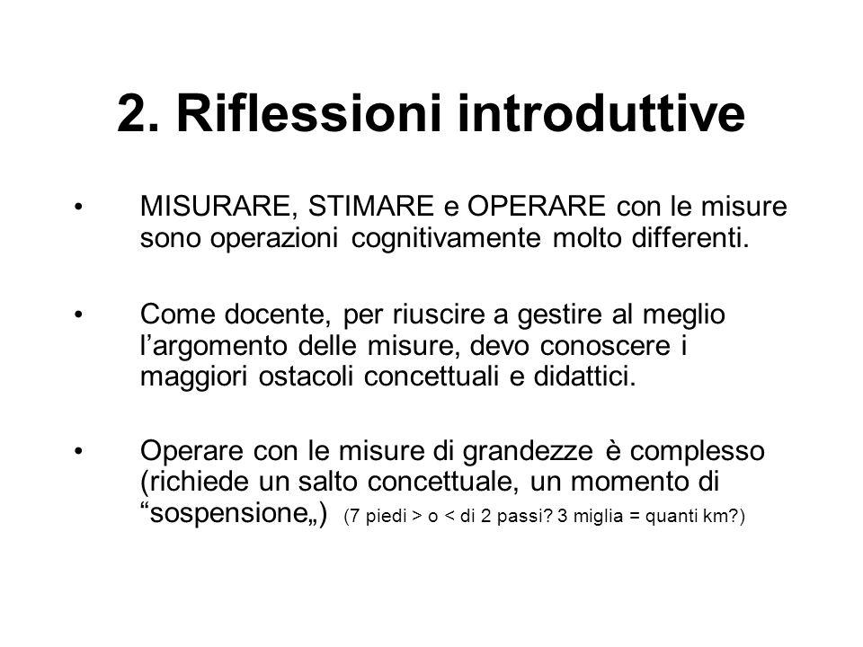 2. Riflessioni introduttive MISURARE, STIMARE e OPERARE con le misure sono operazioni cognitivamente molto differenti. Come docente, per riuscire a ge