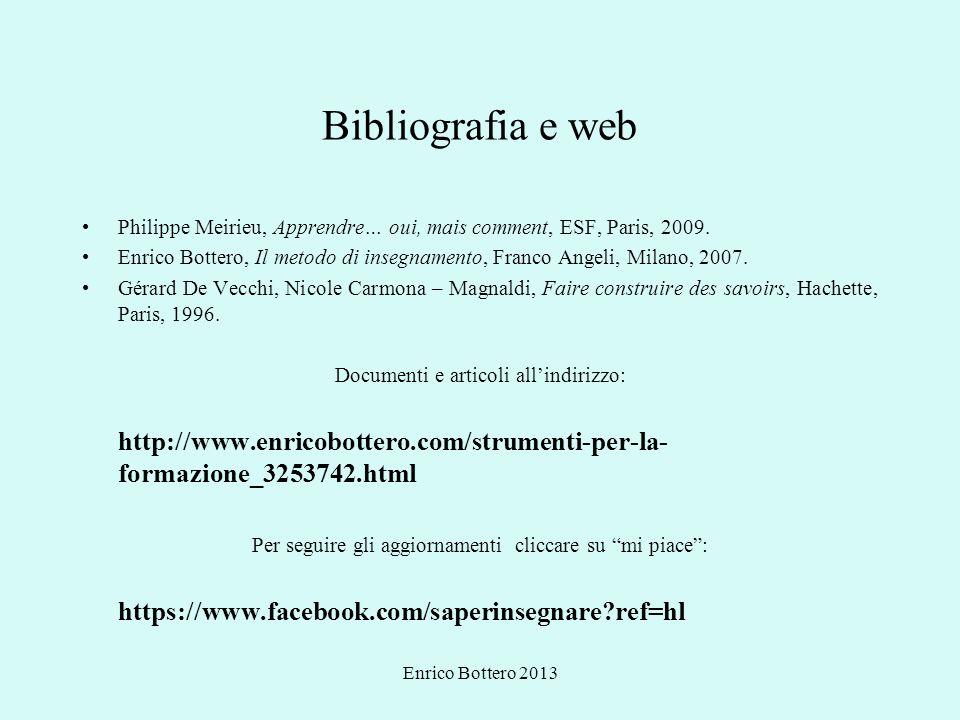 Enrico Bottero 2013 Bibliografia e web Philippe Meirieu, Apprendre… oui, mais comment, ESF, Paris, 2009. Enrico Bottero, Il metodo di insegnamento, Fr