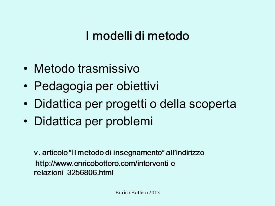 Enrico Bottero 2013 I modelli di metodo Metodo trasmissivo Pedagogia per obiettivi Didattica per progetti o della scoperta Didattica per problemi v. a